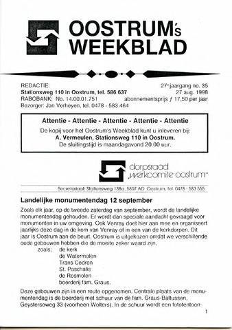 Oostrum's Weekblad 1998-08-27