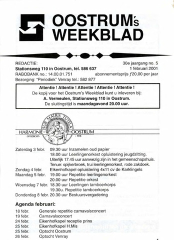 Oostrum's Weekblad 2001-02-01
