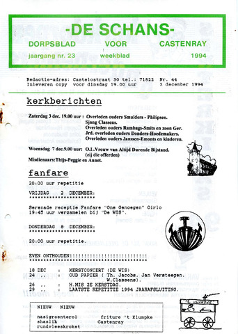 Castenrays dorpsblad De Schans 1994-12-02