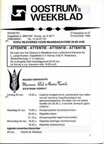 Oostrum's Weekblad 1992-11-19