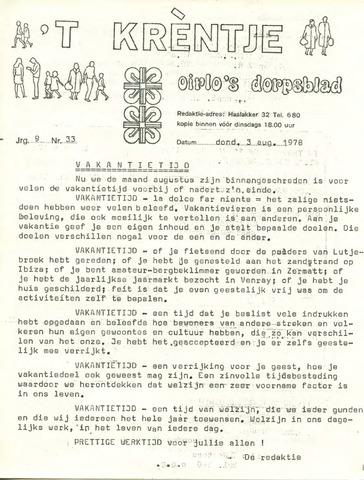 Oirlo's dorpsblad 't Krèntje 1978-08-03