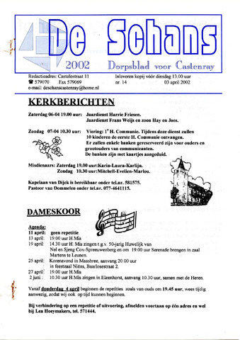 Castenrays dorpsblad De Schans 2002-04-03