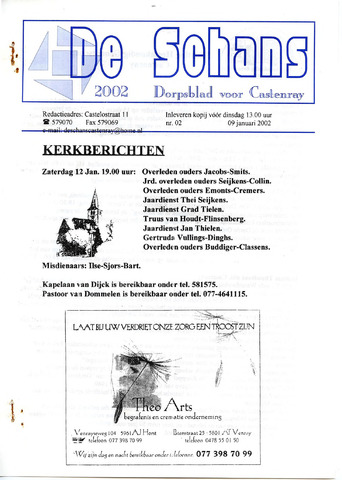 Castenrays dorpsblad De Schans 2002-01-09