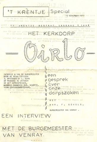 Oirlo's dorpsblad 't Krèntje 1972-11-12