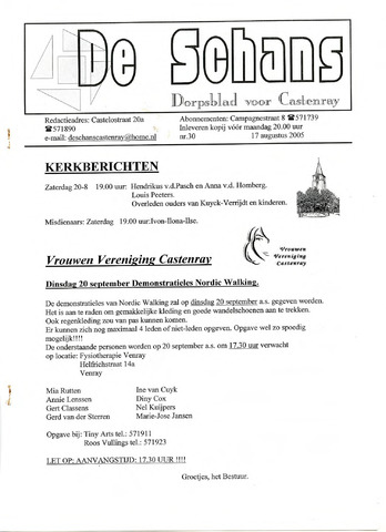 Castenrays dorpsblad De Schans 2005-08-17