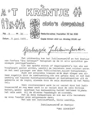 Oirlo's dorpsblad 't Krèntje 1977-06-09