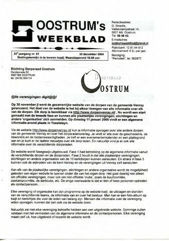 Oostrum's Weekblad 2004-12-30