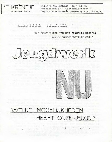 Oirlo's dorpsblad 't Krèntje 1970-03-06