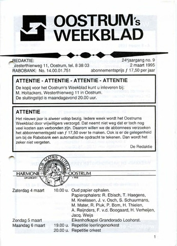Oostrum's Weekblad 1995-03-02