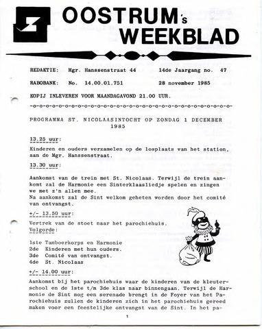 Oostrum's Weekblad 1985-11-28