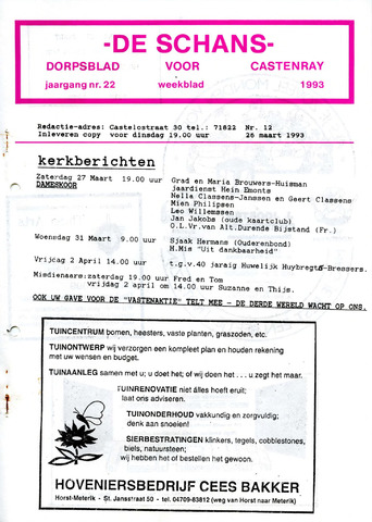 Castenrays dorpsblad De Schans 1993-03-26