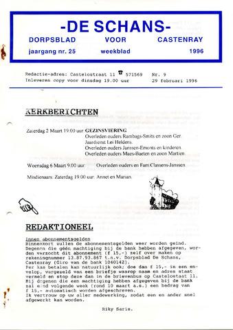 Castenrays dorpsblad De Schans 1996-02-29