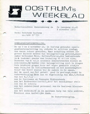 Oostrum's Weekblad 1973-11-09