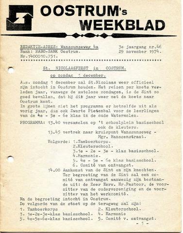 Oostrum's Weekblad 1974-11-29