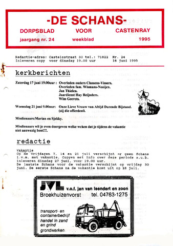 Castenrays dorpsblad De Schans 1995-06-16