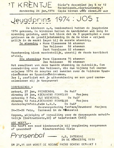 Oirlo's dorpsblad 't Krèntje 1974-01-24