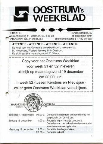 Oostrum's Weekblad 1994-12-15