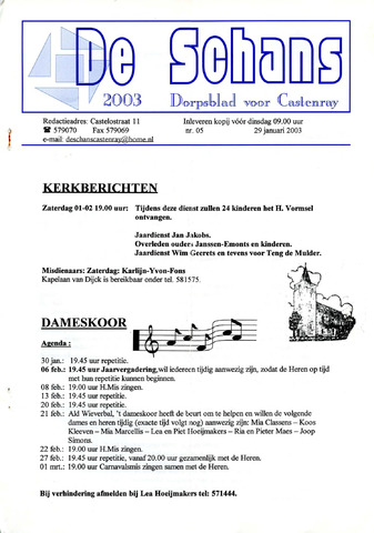 Castenrays dorpsblad De Schans 2003-01-29