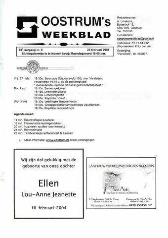 Oostrum's Weekblad 2004-02-26