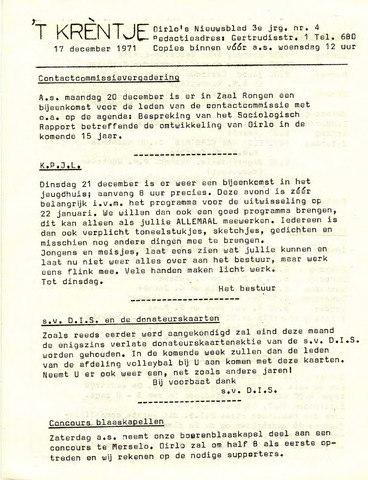 Oirlo's dorpsblad 't Krèntje 1971-12-17