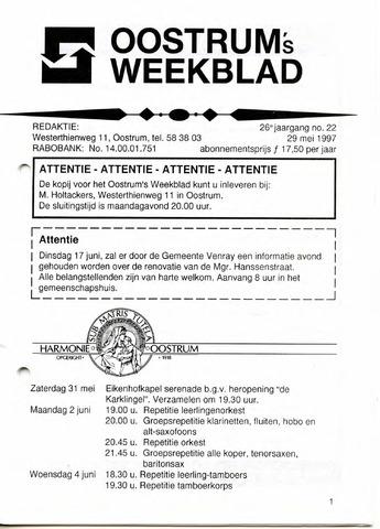 Oostrum's Weekblad 1997-05-29