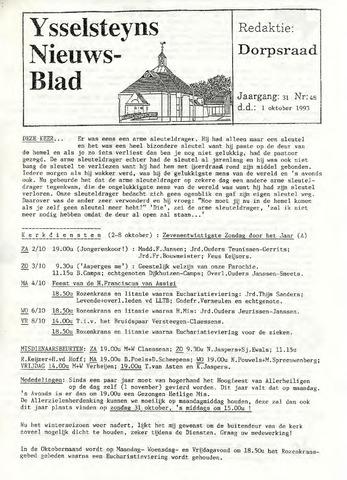 Ysselsteyns Nieuwsblad 1993-10-01