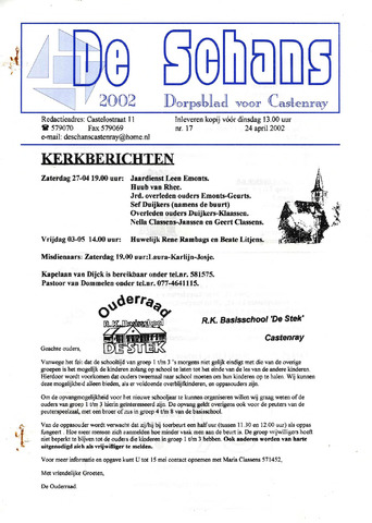 Castenrays dorpsblad De Schans 2002-04-24