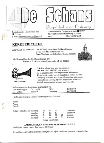 Castenrays dorpsblad De Schans 2005-11-02