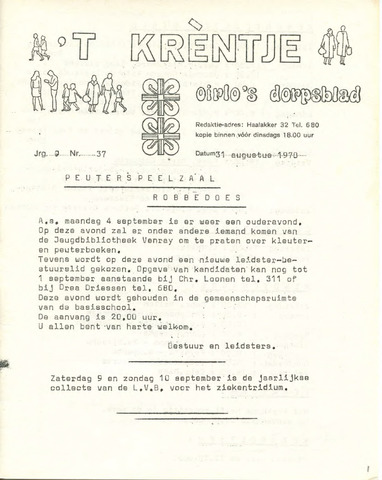 Oirlo's dorpsblad 't Krèntje 1978-08-31
