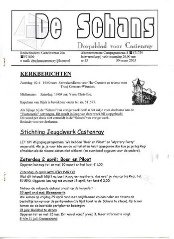 Castenrays dorpsblad De Schans 2005-03-30