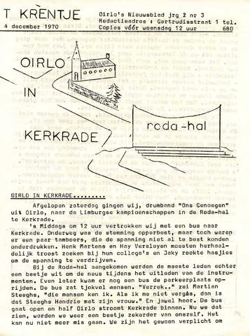 Oirlo's dorpsblad 't Krèntje 1970-12-04