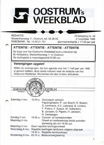 Oostrum's Weekblad 1995-11-02