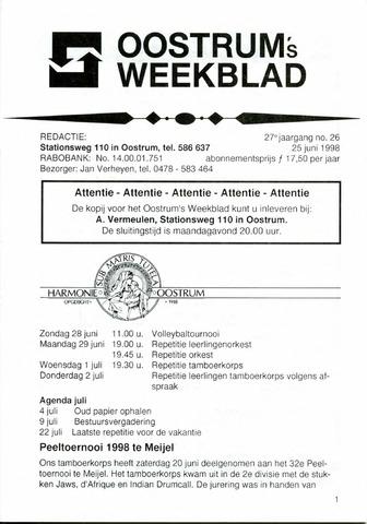 Oostrum's Weekblad 1998-06-25