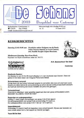 Castenrays dorpsblad De Schans 2003-03-19