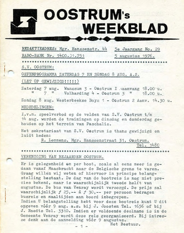 Oostrum's Weekblad 1976-08-05
