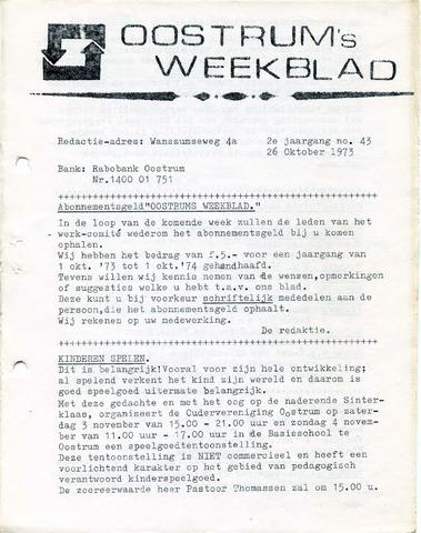 Oostrum's Weekblad 1973-10-26