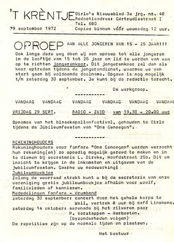 Oirlo's dorpsblad 't Krèntje 1972-09-29