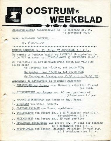Oostrum's Weekblad 1974-09-13