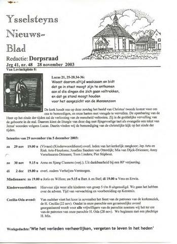 Ysselsteyns Nieuwsblad 2003-11-28