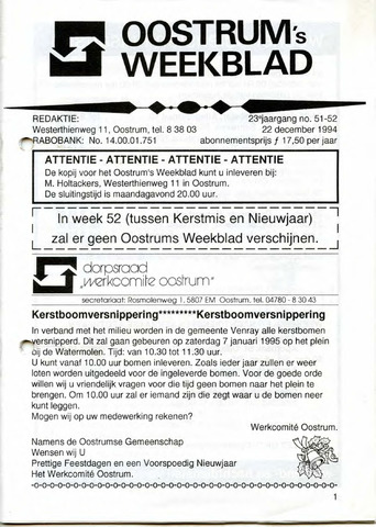 Oostrum's Weekblad 1994-12-22