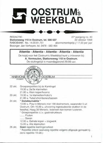 Oostrum's Weekblad 1998-10-22