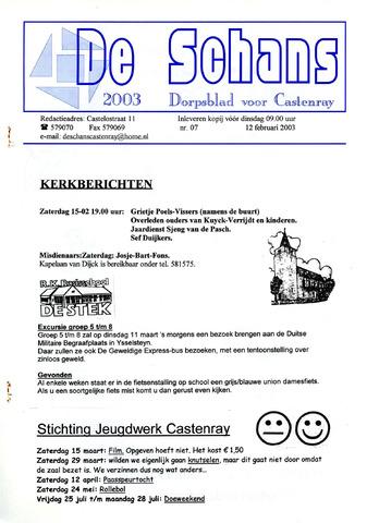 Castenrays dorpsblad De Schans 2003-02-12