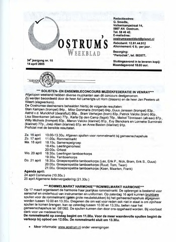 Oostrum's Weekblad 2005-04-14