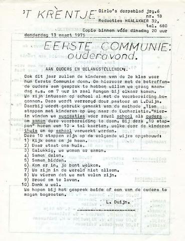 Oirlo's dorpsblad 't Krèntje 1975-03-13