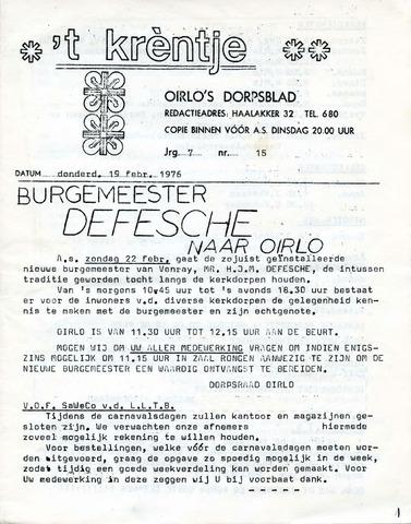 Oirlo's dorpsblad 't Krèntje 1976-02-19