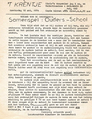 Oirlo's dorpsblad 't Krèntje 1974-10-10