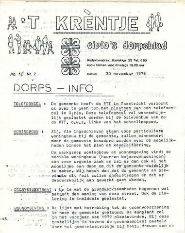 Oirlo's dorpsblad 't Krèntje 1978-11-30
