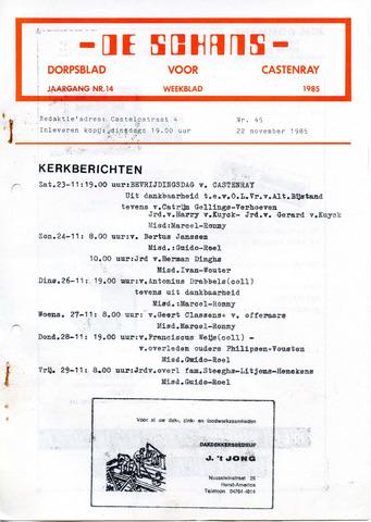 Castenrays dorpsblad De Schans 1985-11-22