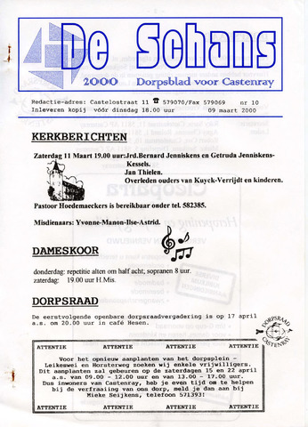 Castenrays dorpsblad De Schans 2000-03-09