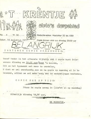 Oirlo's dorpsblad 't Krèntje 1977-08-18